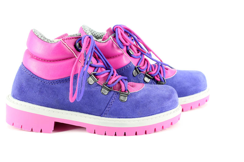 Children hiking boots royalty free stock photos