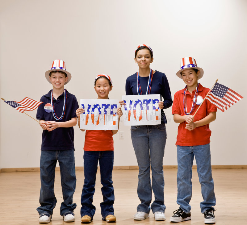 Download Children Holding American Flag And Wearing Hats Stock Image - Image: 6598085
