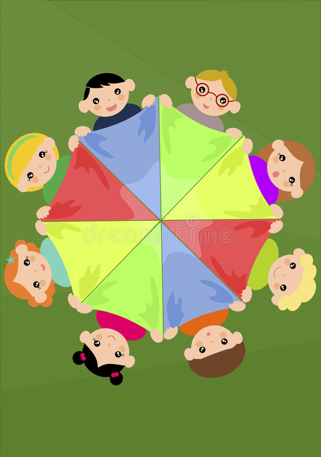 Children holding colourful scarf in a circle royalty free illustration