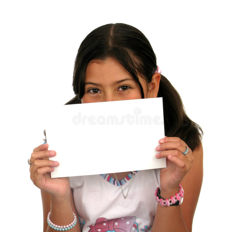 Children Holding an Empty Sign. Over a white background stock photos