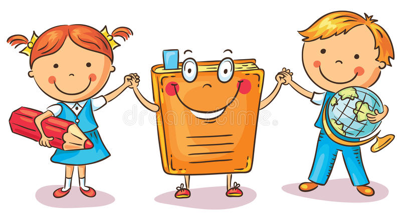 Children holding hands with a book as a symbol of learning, knowledge, education. Colorful cartoon, vector royalty free illustration