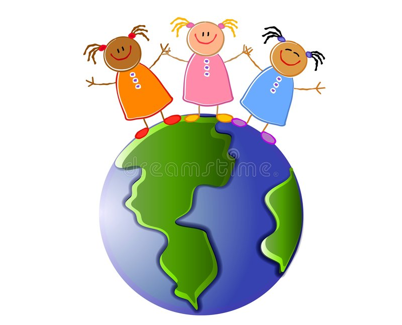 Children Holding Hands Earth vector illustration
