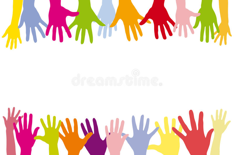 Children holding many colorful hands royalty free illustration