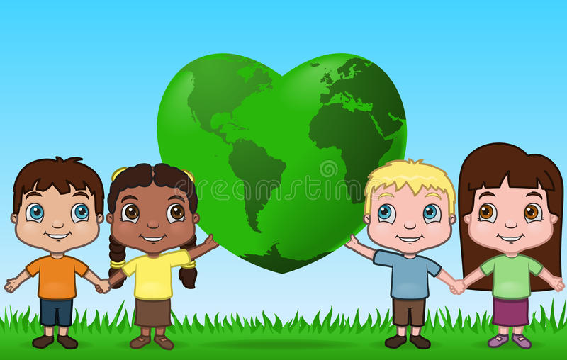 Children holding up the world. This is a vector illustration of children holding up the world together royalty free illustration
