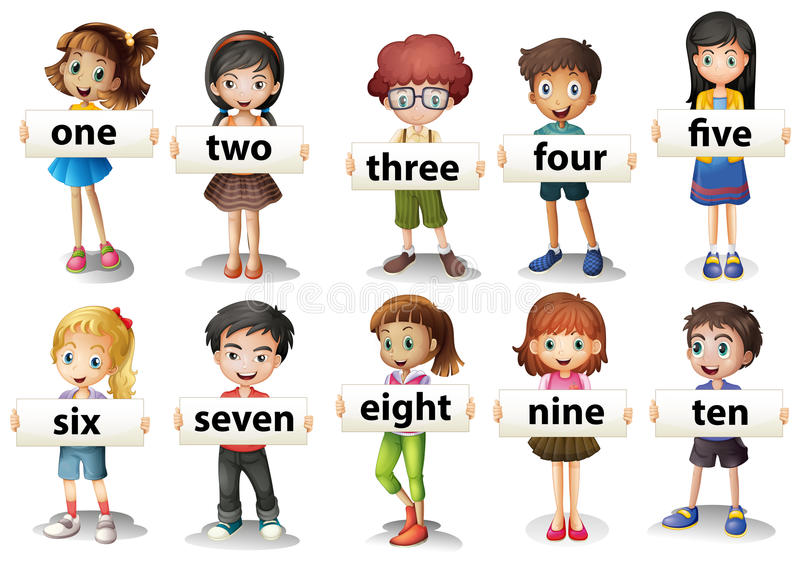 Children holding word cards with numbers stock illustration