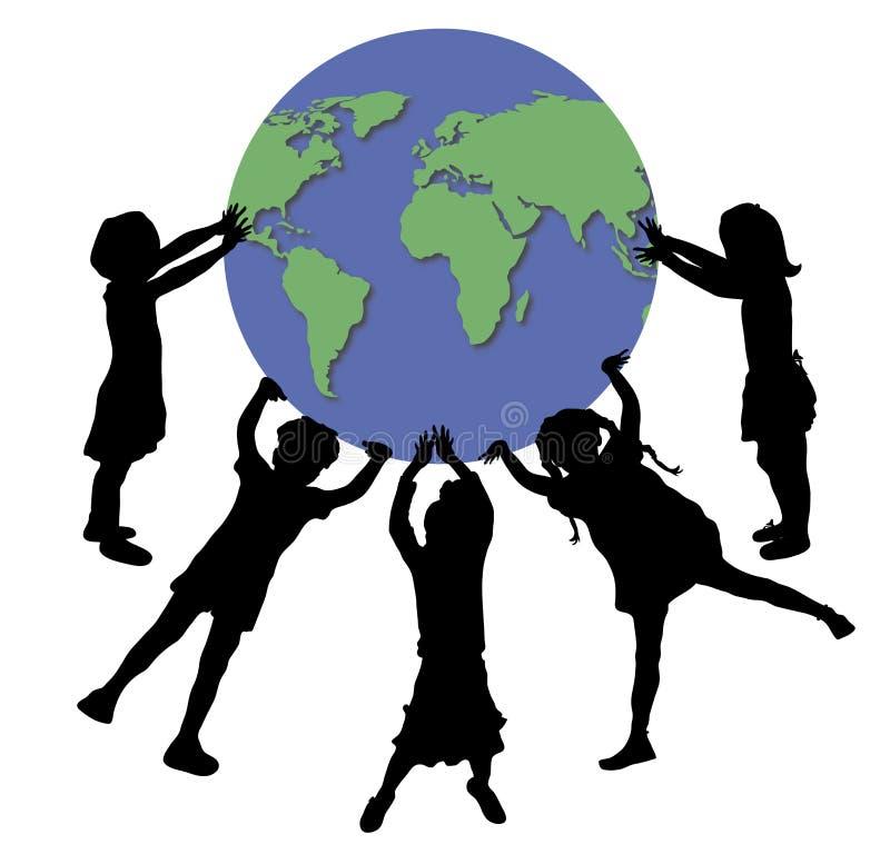 Children Holding World 2 vector illustration