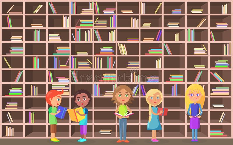 Children Holds Literature on Library Background stock illustration