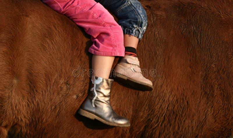 Children and horse stock photos