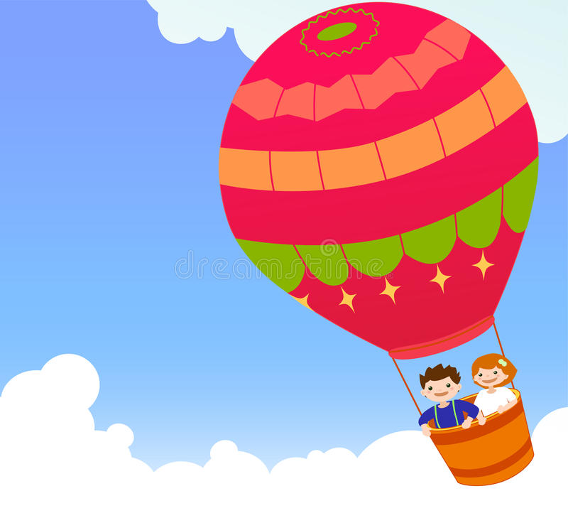 Children And Hot Air Ballon Royalty Free Stock Image
