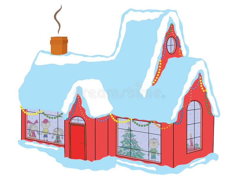 Children in house before Christmas. Happy children in snow-covered house awaiting Santa Claus before Christmas, hand drawing vector illustration royalty free illustration