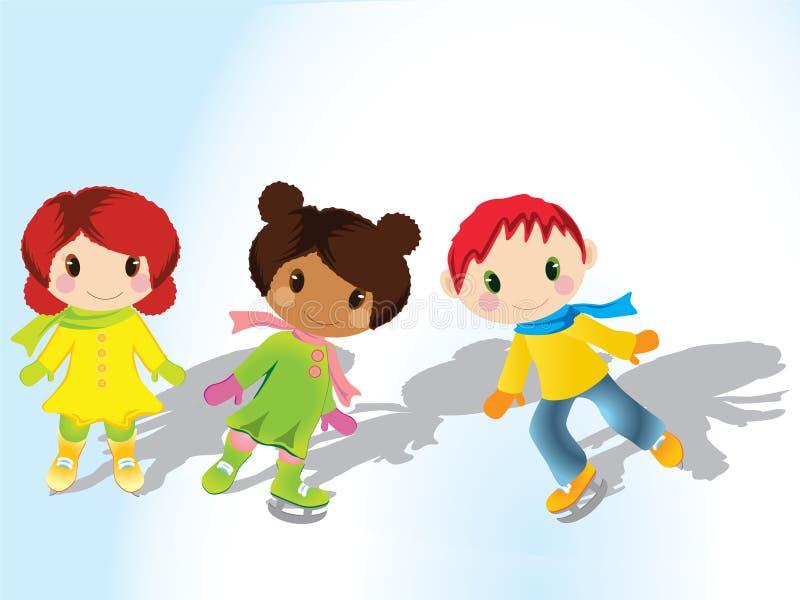 Children ice skating royalty free illustration