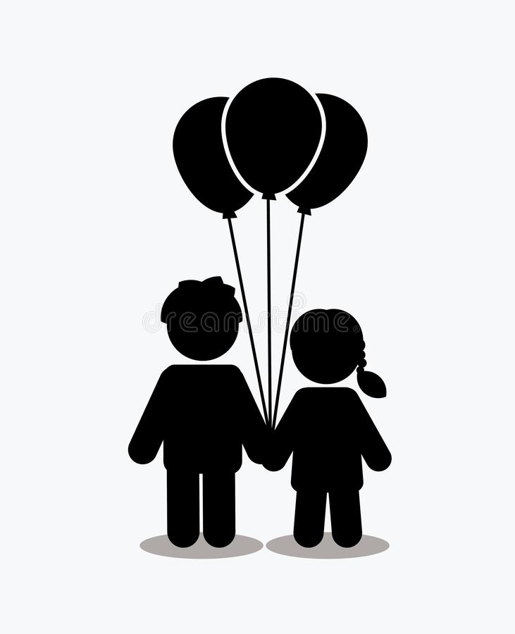 Children icon, Love icon, couple icon with balloons. Illustration graphic vector royalty free illustration