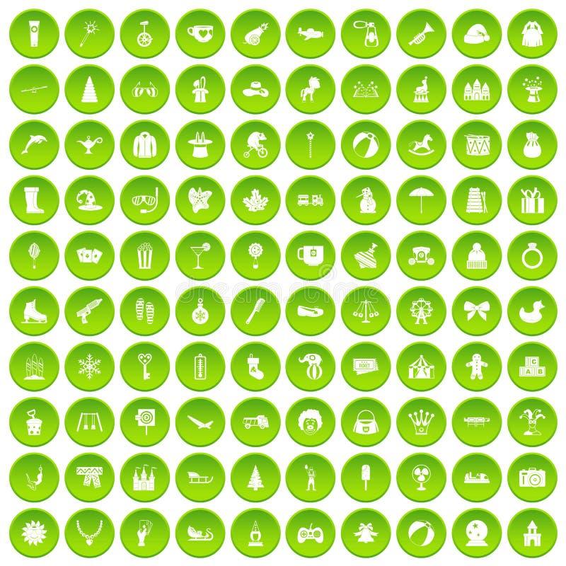 100 children icons set green vector illustration