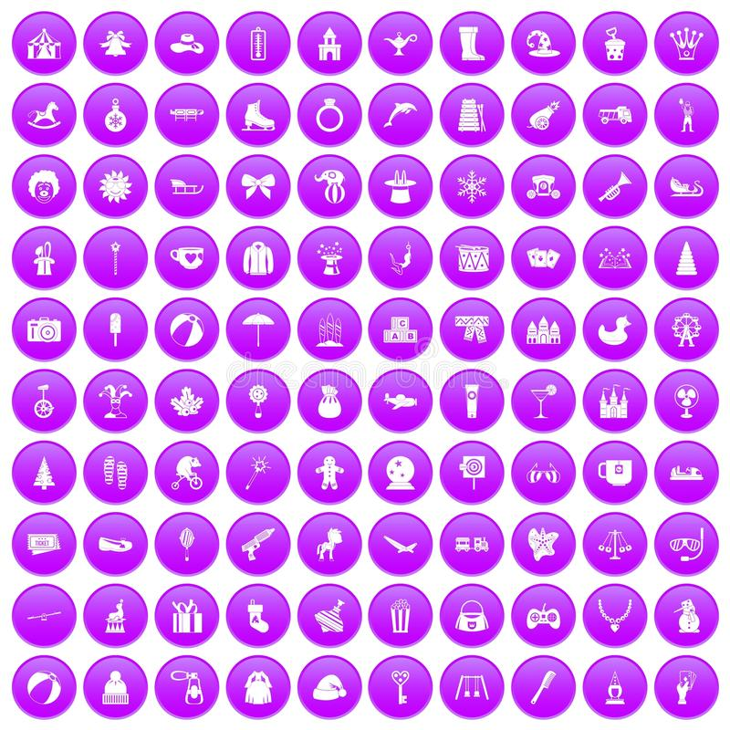 100 children icons set purple stock illustration