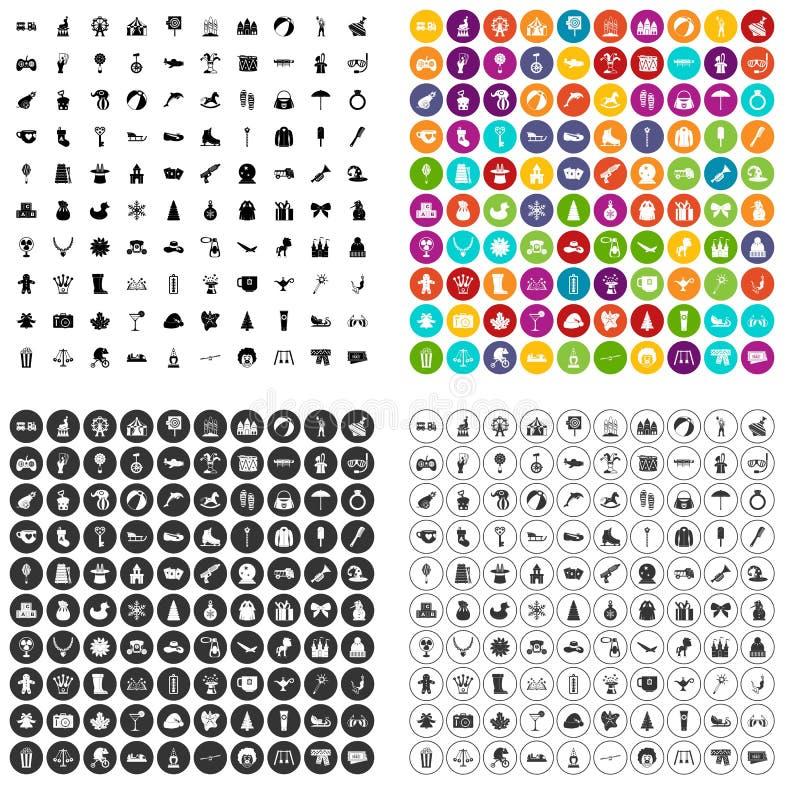 100 children icons set vector variant stock illustration