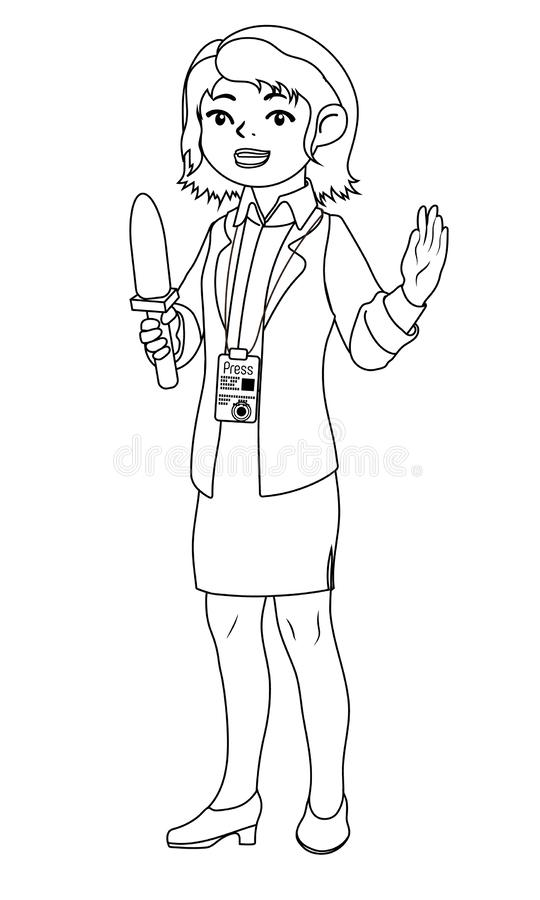 journalist with microphone coloring book vector stock