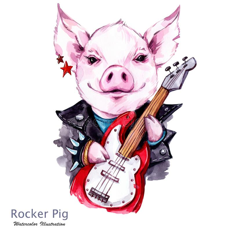 Children illustration. Watercolor rocker pig in jacket with electric guitar. Funny guitarist. Punk music. Symbol of 2019. Year. Perfect for T-shirts, posters vector illustration