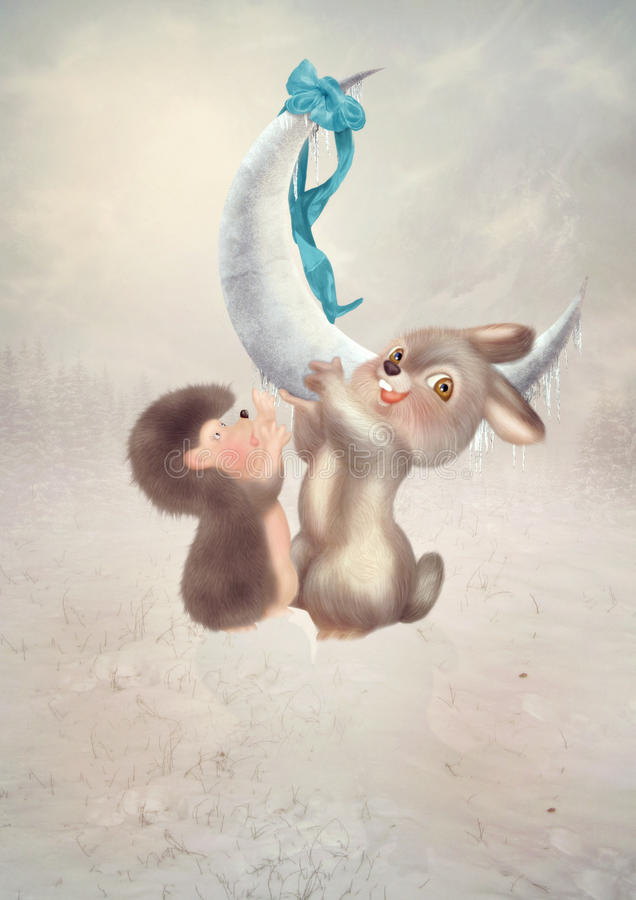 Children ilustracja, zimy bajka royalty ilustracja