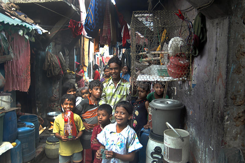 Download Children at Indian slum editorial stock photo. Image of households - 21245913