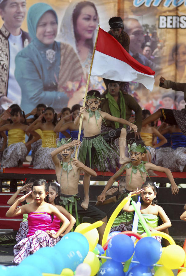 CHILDREN OF INDONESIA POPULATION. Child Play Festival in Solo, Java, Indonesia. Of the 237 million inhabitants, almost one-third are under the age of 18, and as royalty free stock image