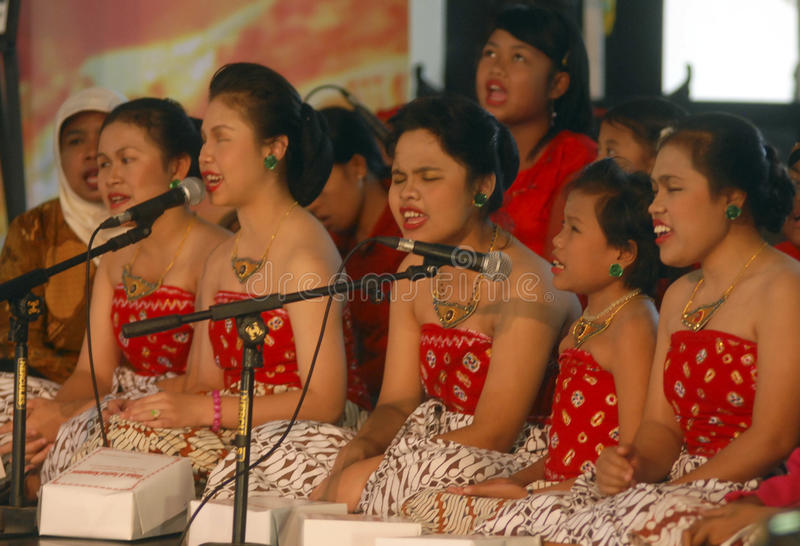 CHILDREN OF INDONESIA POPULATION. A children choir festival in Solo, Java, Indonesia. Of the 237 million inhabitants, almost one-third are under the age of 18 royalty free stock photo