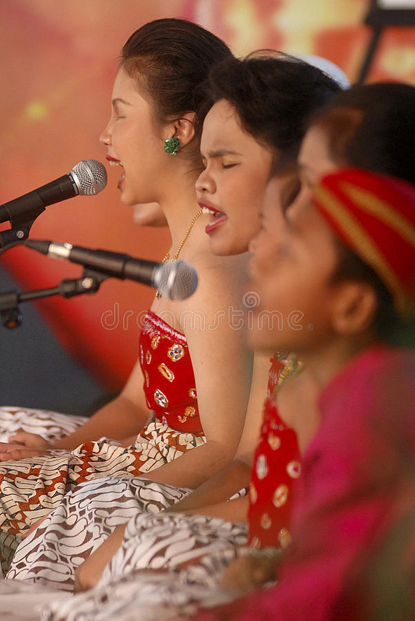 CHILDREN OF INDONESIA POPULATION. A children choir festival in Solo, Java, Indonesia. Of the 237 million inhabitants, almost one-third are under the age of 18 royalty free stock image