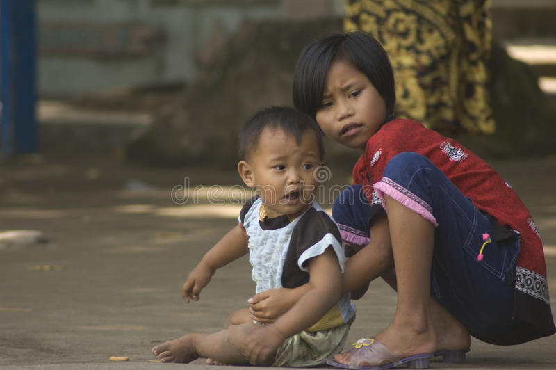 CHILDREN OF INDONESIA POPULATION. Children of Merapi Volcano, Klaten, Java, Indonesia. Of the 237 million inhabitants, almost one-third are under the age of 18 stock photo