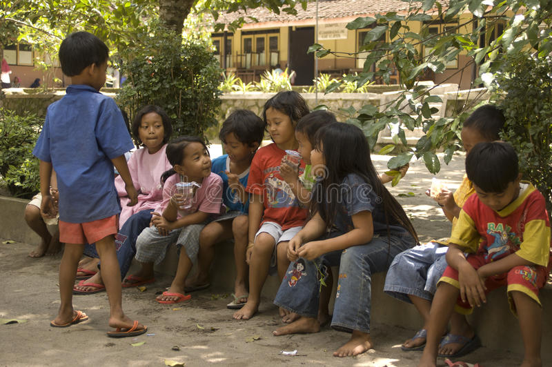 CHILDREN OF INDONESIA POPULATION. Children of Merapi Volcano, Klaten, Java, Indonesia. Of the 237 million inhabitants, almost one-third are under the age of 18 royalty free stock images