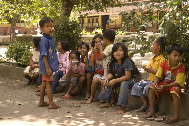 CHILDREN OF INDONESIA POPULATION. Children of Merapi Volcano, Klaten, Java, Indonesia. Of the 237 million inhabitants, almost one-third are under the age of 18 royalty free stock photo