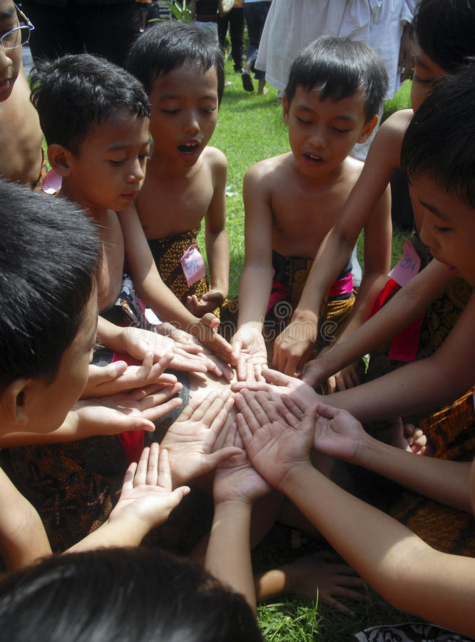 CHILDREN OF INDONESIA POPULATION. Children Play Festival in Solo, Java, Indonesia. Of the 237 million inhabitants, almost one-third are under the age of 18, and royalty free stock images