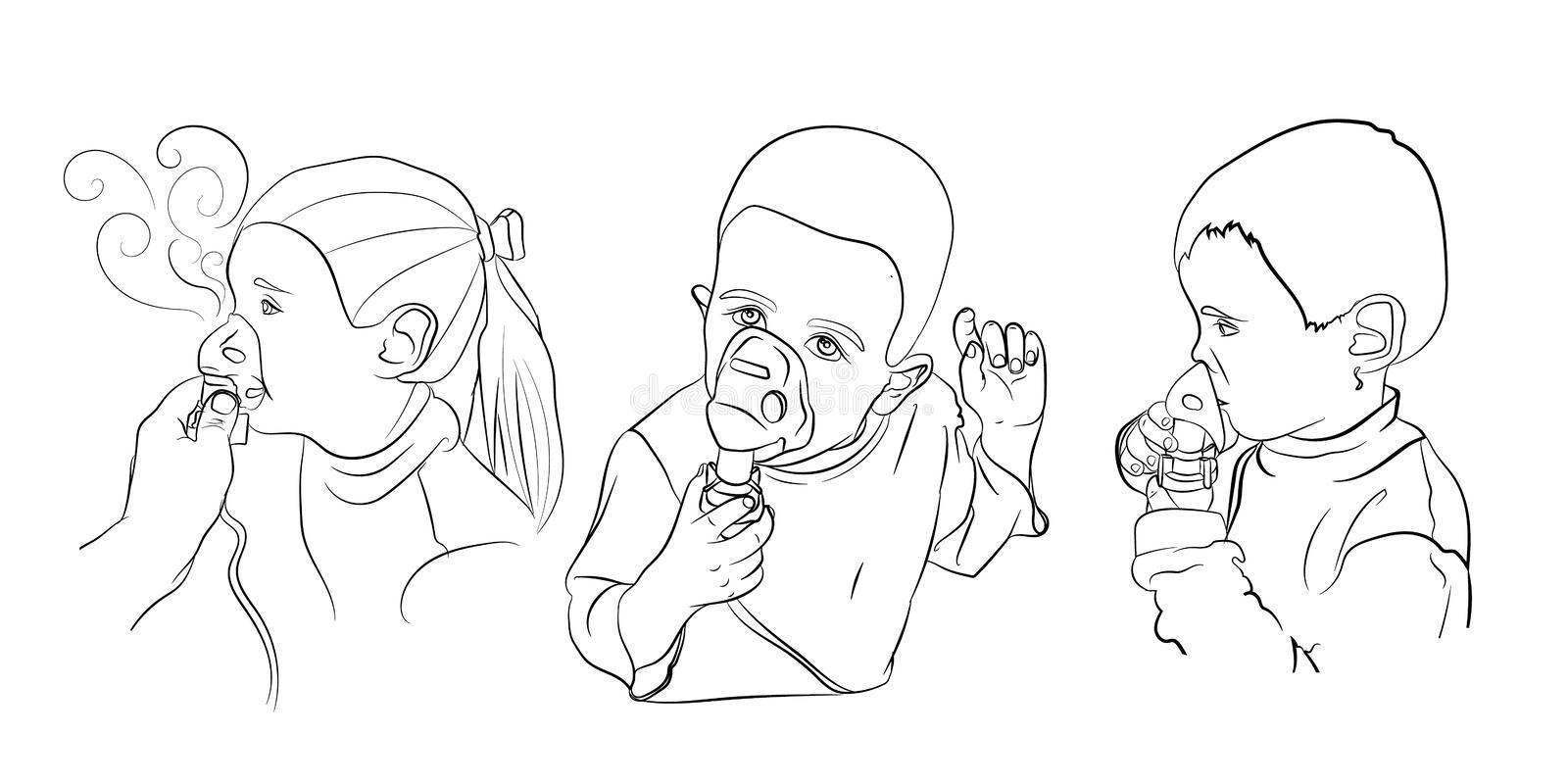 children inhalation treatment. vector royalty free stock photos