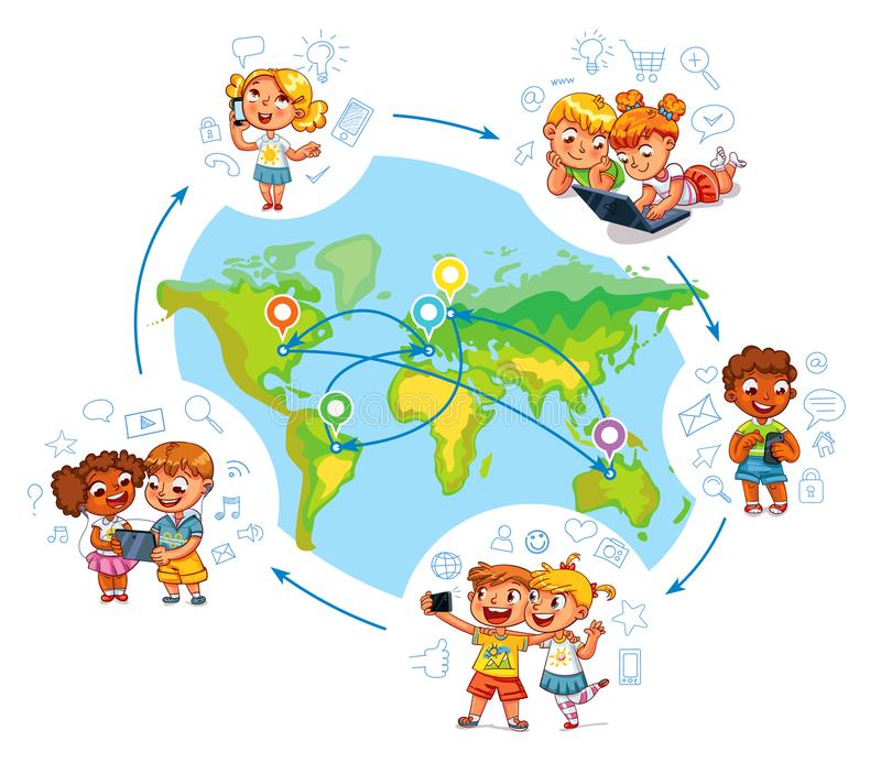 Children interact with each other on social networks around the world. Around the world. Kid talking on the phone. Children to make selfie together with mobile vector illustration