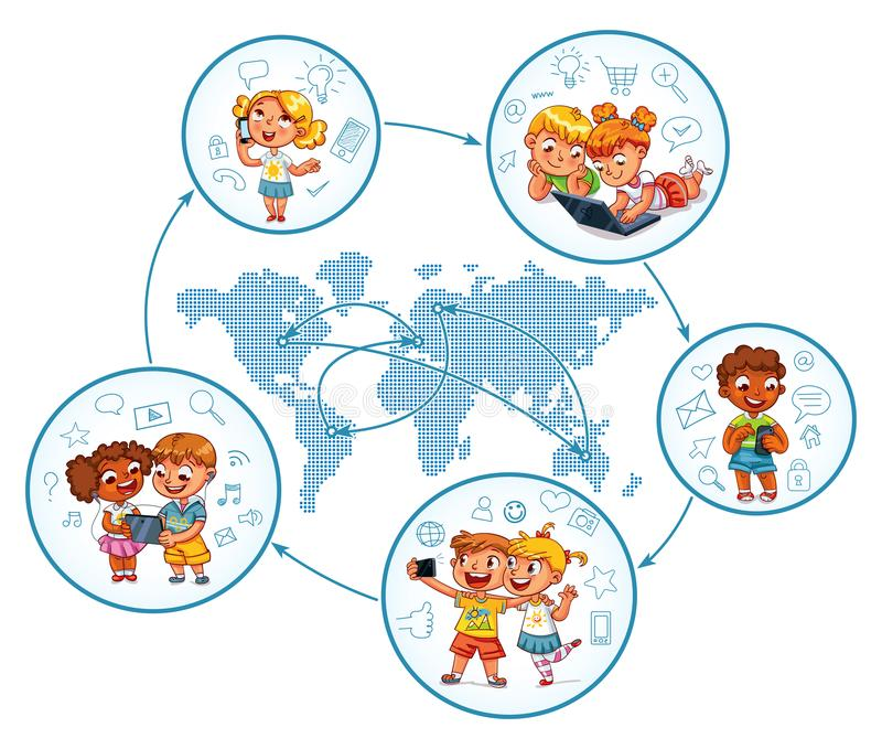Children interact with each other on social networks around the world. Around the world. Funny cartoon character. Vector illustration. Isolated on white royalty free illustration
