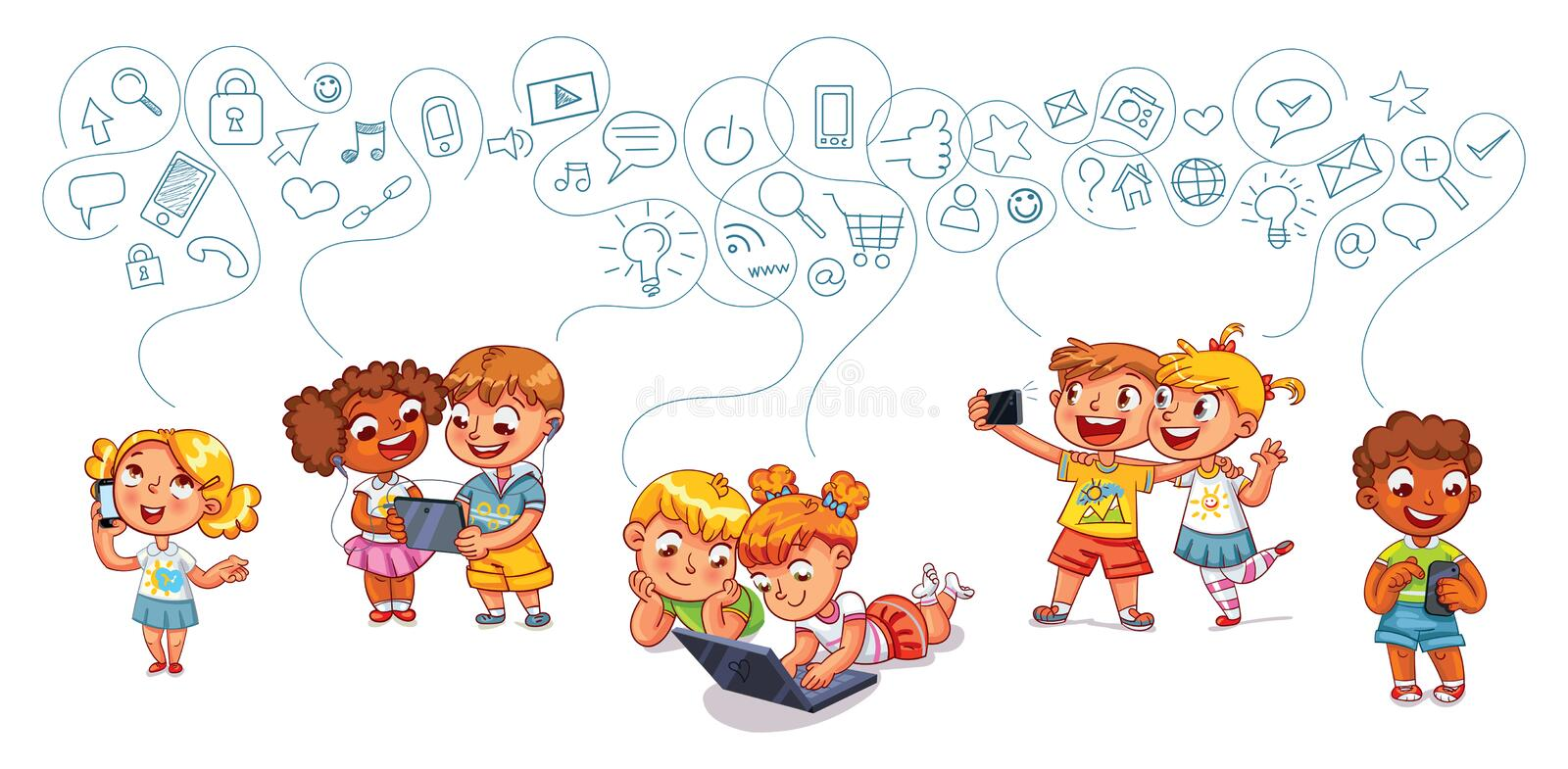 Children interact with each other on social networks. Kids talking on the phone. Boy is getting SMS. Boy and girl with laptop. Children play on tablet. Kids to royalty free illustration