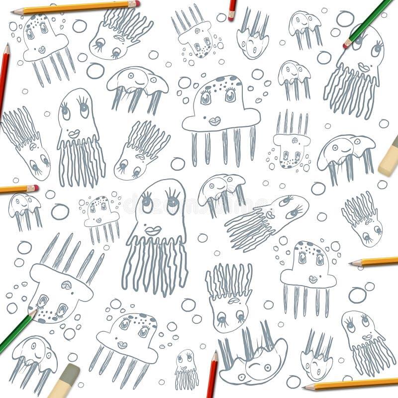 Children jellyfish rysunków rama na bielu z kolorów ołówkami royalty ilustracja