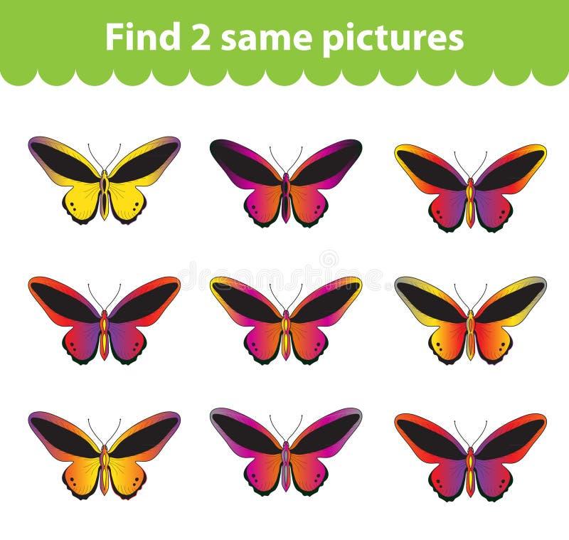 Children& x27 ; jeu éducatif de s Découverte deux les mêmes photos Ensemble de papillons pour la découverte deux de jeu les mêmes illustration libre de droits