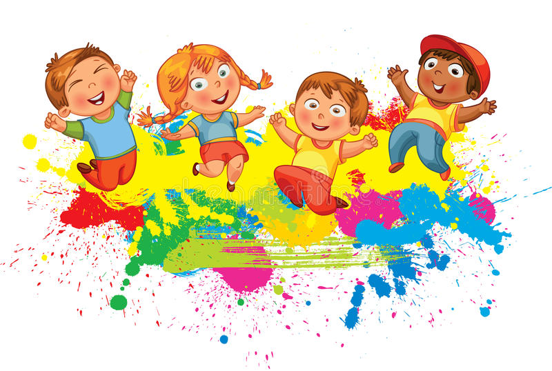 Children jump for joy vector illustration