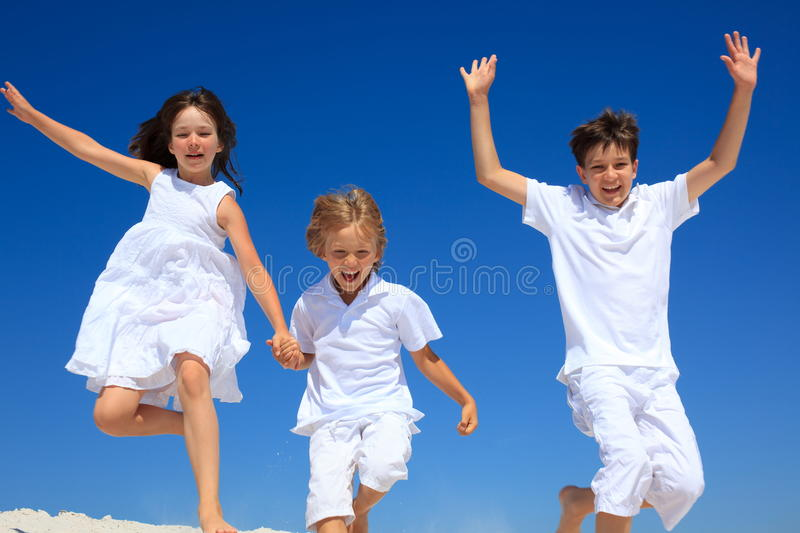Children jumping royalty free stock image