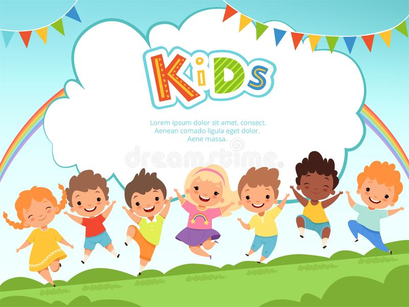 Children jumping background. Happy kids playing male and female on playground vector template with place for your text vector illustration