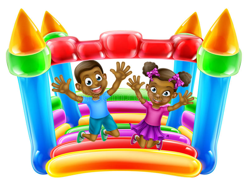 Children Jumping on Bouncy Castle. A young black boy and girl having fun jumping on a bouncy castle stock illustration