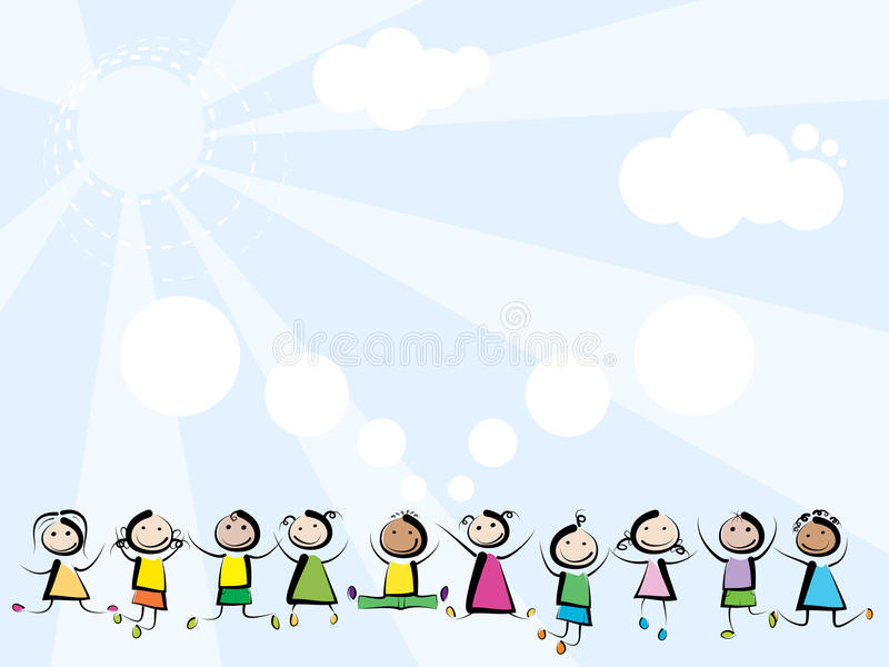 Children jumping on sky background. Little children jumping and smiling on blue background with sun and clouds royalty free illustration