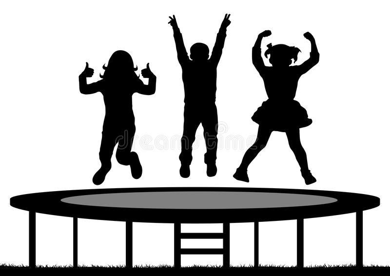 Children jumping on trampoline, silhouette, vector royalty free illustration
