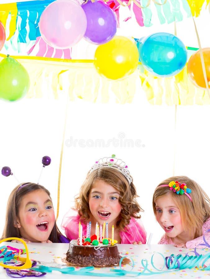 Children Kid Girls Birthday Party Look Excited Chocolate Cake Stock Photos