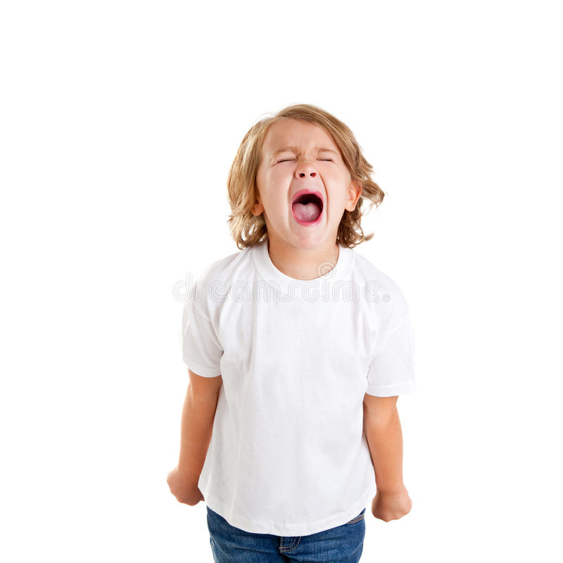 Children kid screaming expression on white royalty free stock photography