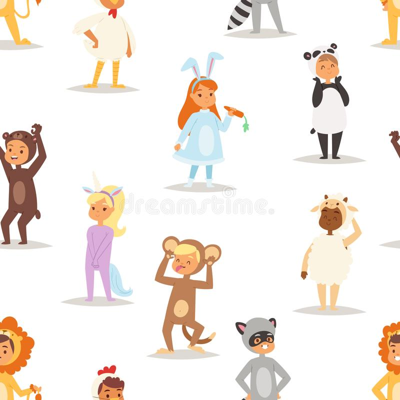 Children kids animal costumes vector characters Christmas party wearing fancy dress masquerade kids holiday seamless. Pattern background illustration. Funny stock illustration