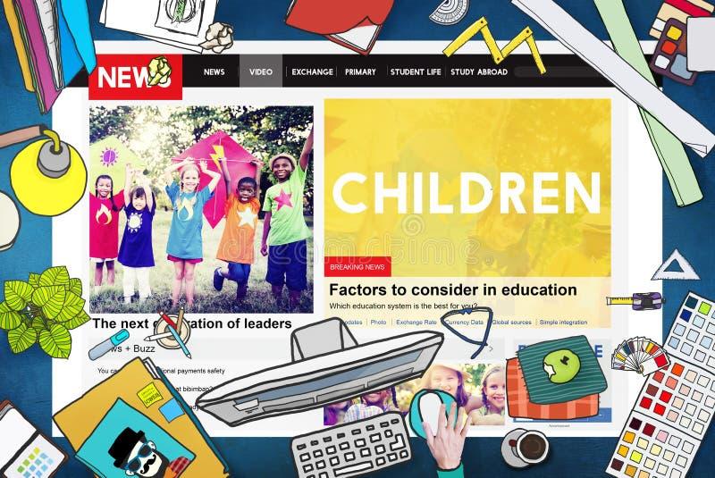 Children Kids Childhood Youth Website Webpage Concept vector illustration