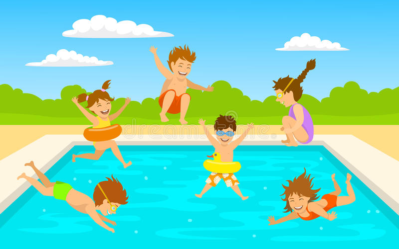 Children kids, cute boys and girls swimming diving jumping into pool scene. Background vector illustration