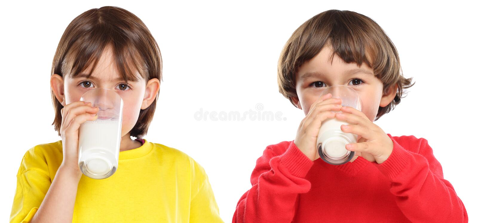 Children kids girl boy drinking milk healthy eating isolated on white royalty free stock image