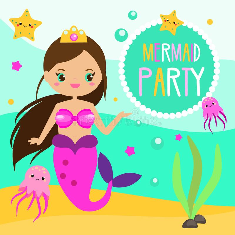 Children and kids holiday party invitation design template with cute mermaid stock illustration