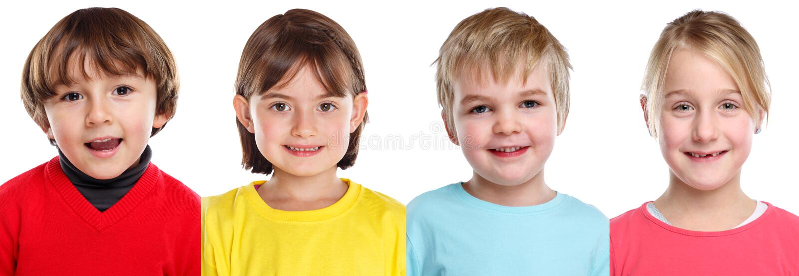 Children kids little girl boy portraits faces in a row isolated on white. Children kids little girl boy portraits faces in a row isolated on a white background royalty free stock photography
